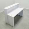 Jersey reception desk is shown here with a White Gloss Laminate Base and a White Gloss Laminate Counter.