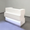 Floridian Custom Reception Desk is shown here with all White Gloss Laminate Base.