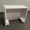 Houston Custom Reception Desk is shown here with a all White Laminate Base and internal weels.