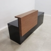 Los Angeles Straight reception desk is shown here with a Black Gloss Laminate Base and a Espresso Pear Laminate Counter.