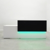 Los Angeles long reception desk is shown here with a White Gloss Laminate Base and a Black Laminate Base Counter.