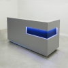 Manhattan reception desk is shown here with a Gray Matte Laminate Base and Black Matte accent on the recessed panel, with a brushed aluminum toe-kick.
