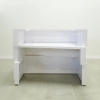 Miami Custom reception desk is shown here with a all White gloss Laminate Base and toe kick.