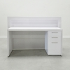 The New York reception desk is shown here in all White Gloss Laminate Base & Storage to the Right Side