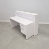 72 In. New York Reception Desk in White Glass Laminate (BACK SIDE) Built-in Pull Out Drawer & File Cabinet.