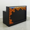 Jersey Reception Desk Gray Matte Laminates with 5 in  Hexagon orange matte laminate.