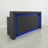 The New York reception desk is shown here in all Black Matte Laminate Base.