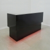 San Francisco L Shape reception desk is shown here with all Black Gloss Laminate Base.