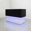 San Francisco L Shape reception desk is shown here with a White Matte Laminate Base and a Black Matte Laminate Counter.