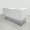 San Francisco L Shape reception desk is shown here with a Mouse Gray Laminate Base and a White Matte Laminate Counter.