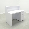 San Francisco Straight Custom Reception Desk is shown here with an all White  Gloss Laminate Base & Storage