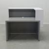 San Francisco L Shape Desk in Fog Gray Matte Base and White Matte Laminate Counter.
