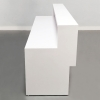 San Francisco Straight Custom Reception Desk is shown here with an all White  Gloss Laminate Base.