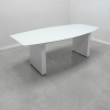 Axis Boat Glass Top Meeting Table with Rectangular White Gloss Laminate Base