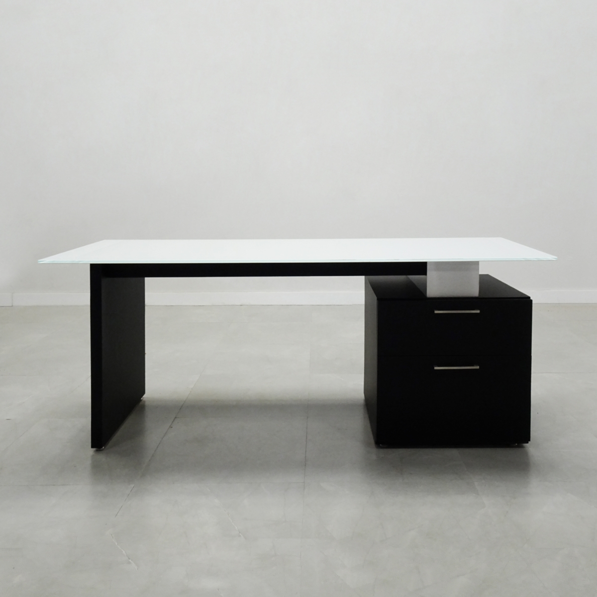 Avenue Straight Glass Executive Desk