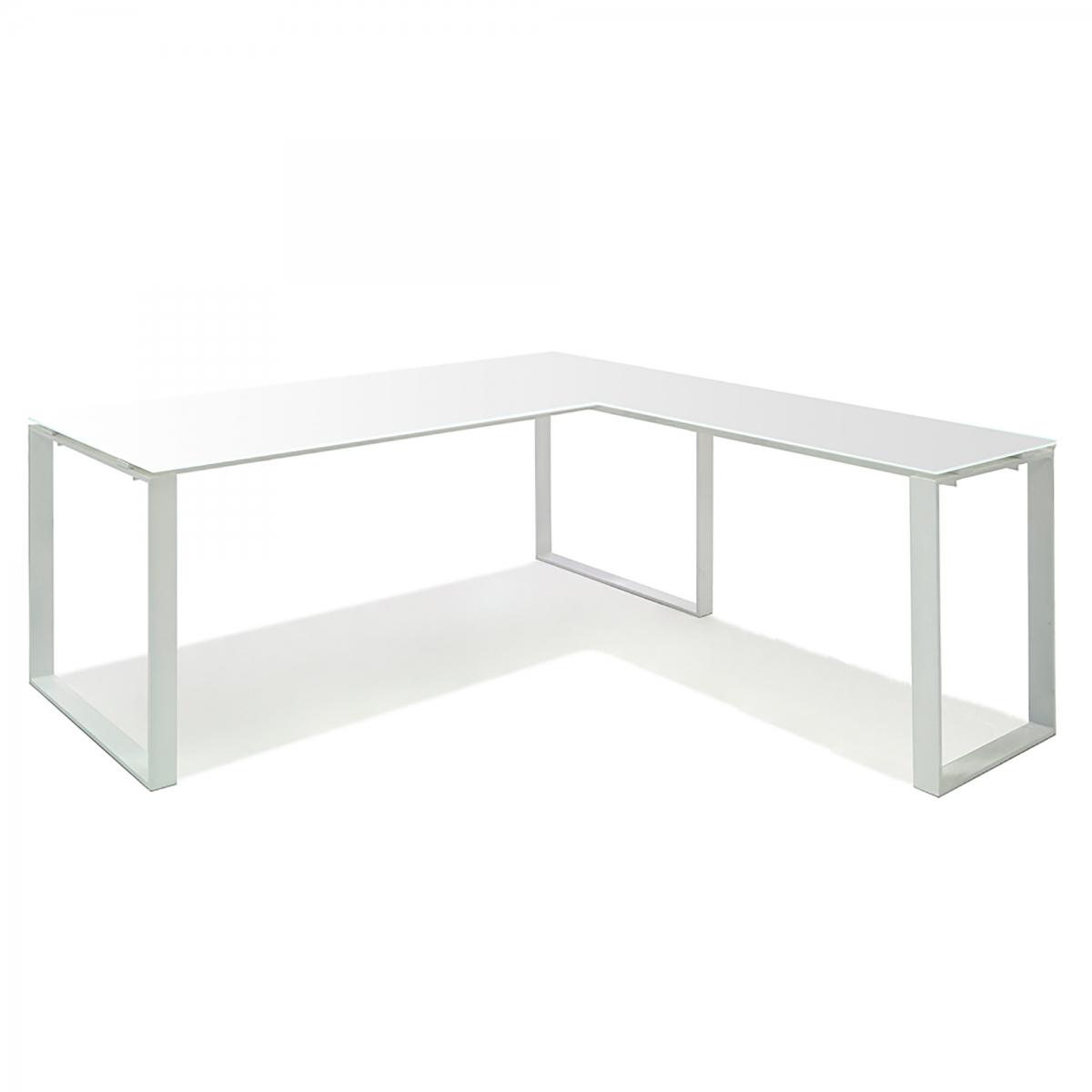 Aspen Glass Top L-Shape Desk