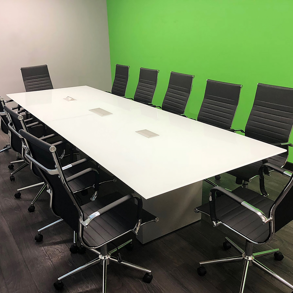 Axis Rectangular Meeting Table with Glass Top