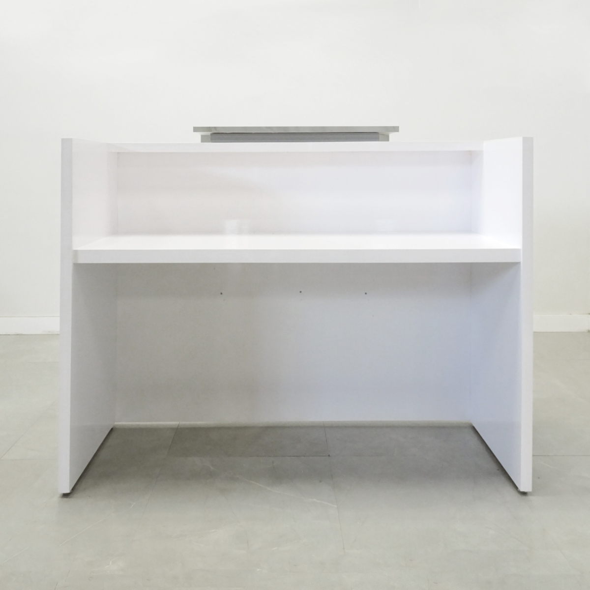60 In. Chicago Reception Desk with White Stone