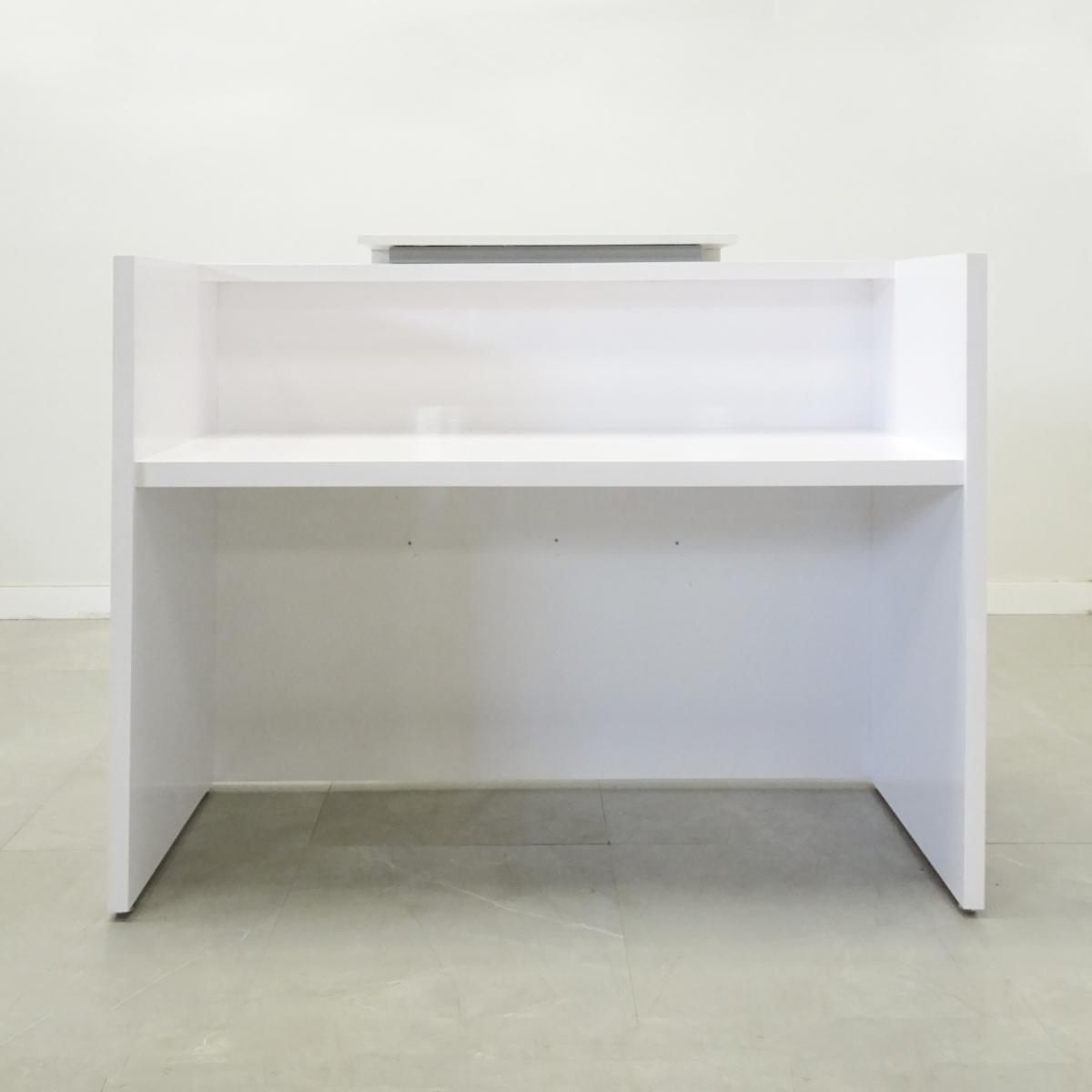48 In. Chicago Reception Desk White Gloss Laminate
