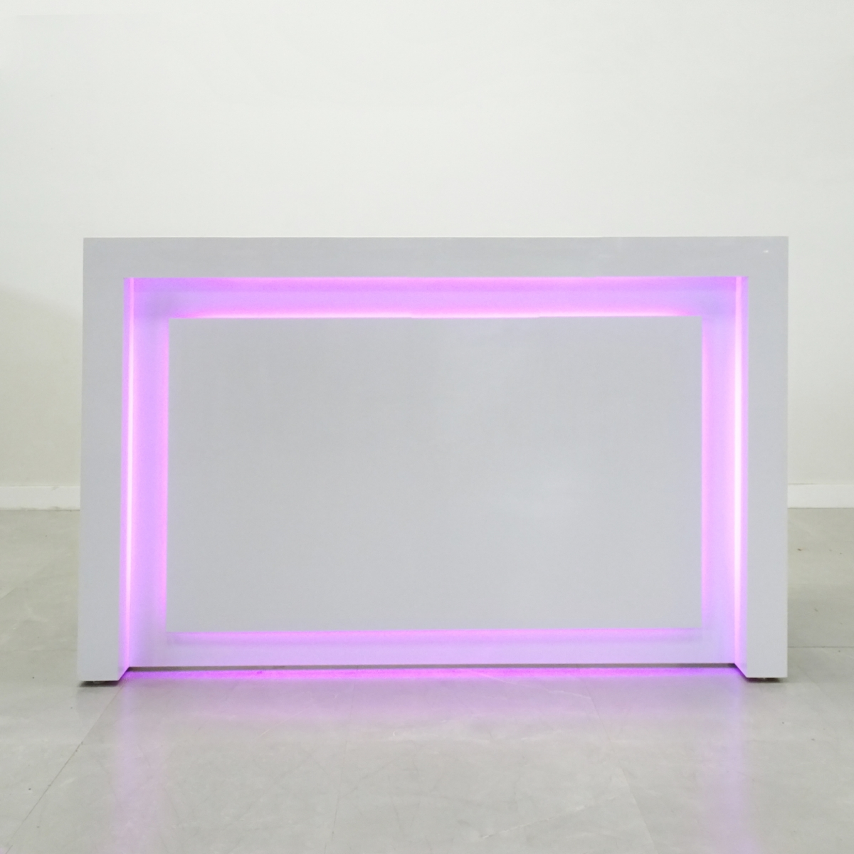 72 In. New York Reception Desk in White Glass Laminate