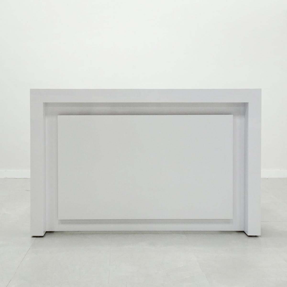 84 In. New York Reception Desk in White Glass Laminate