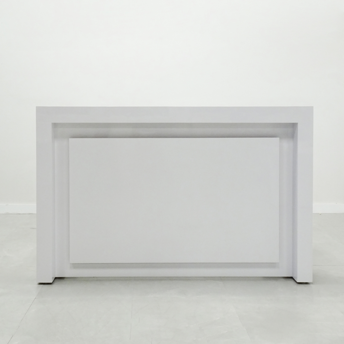 92 In. New York Reception Desk in White Glass Laminate