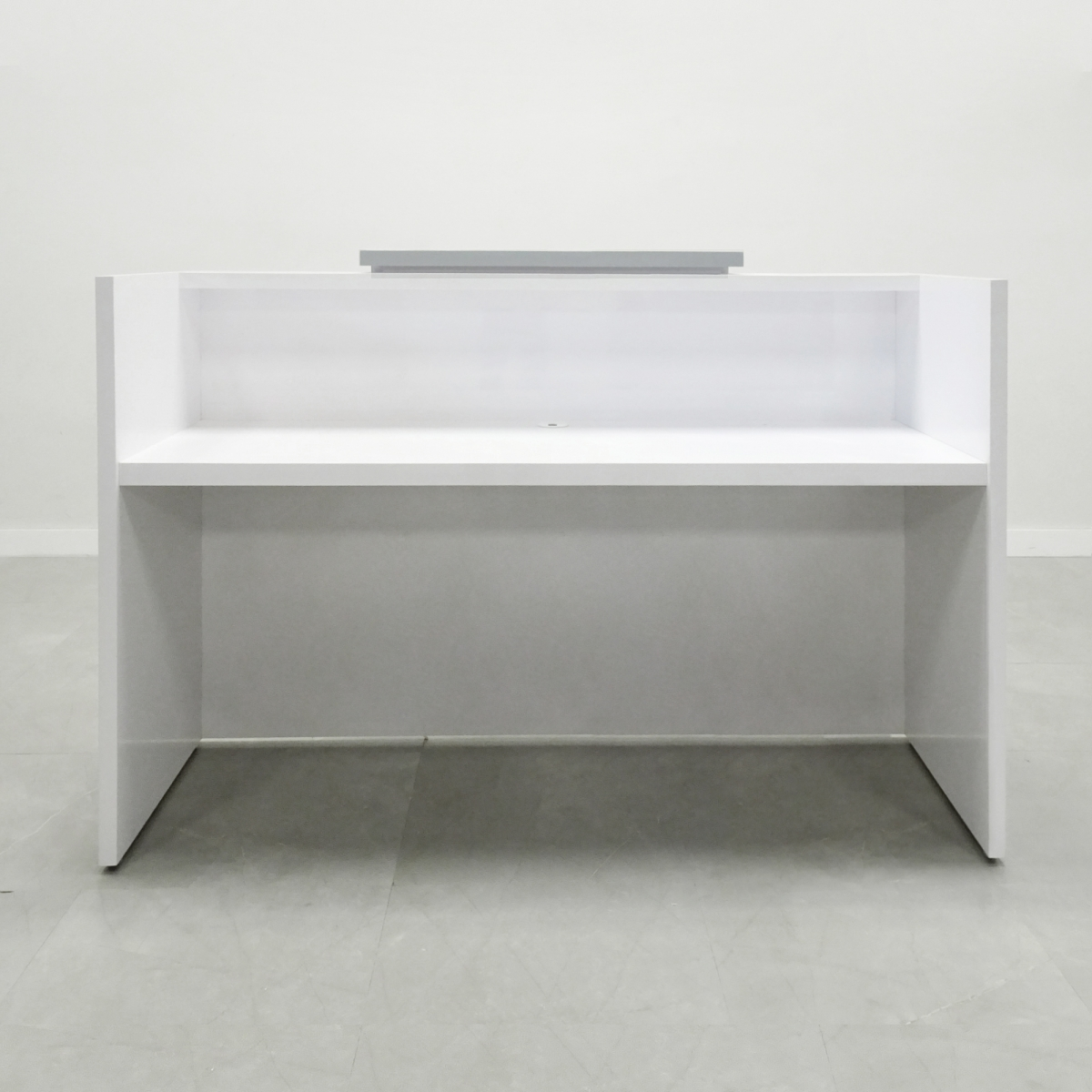 60 In. Chicago Reception Desk Grey fog and White Matte Laminate