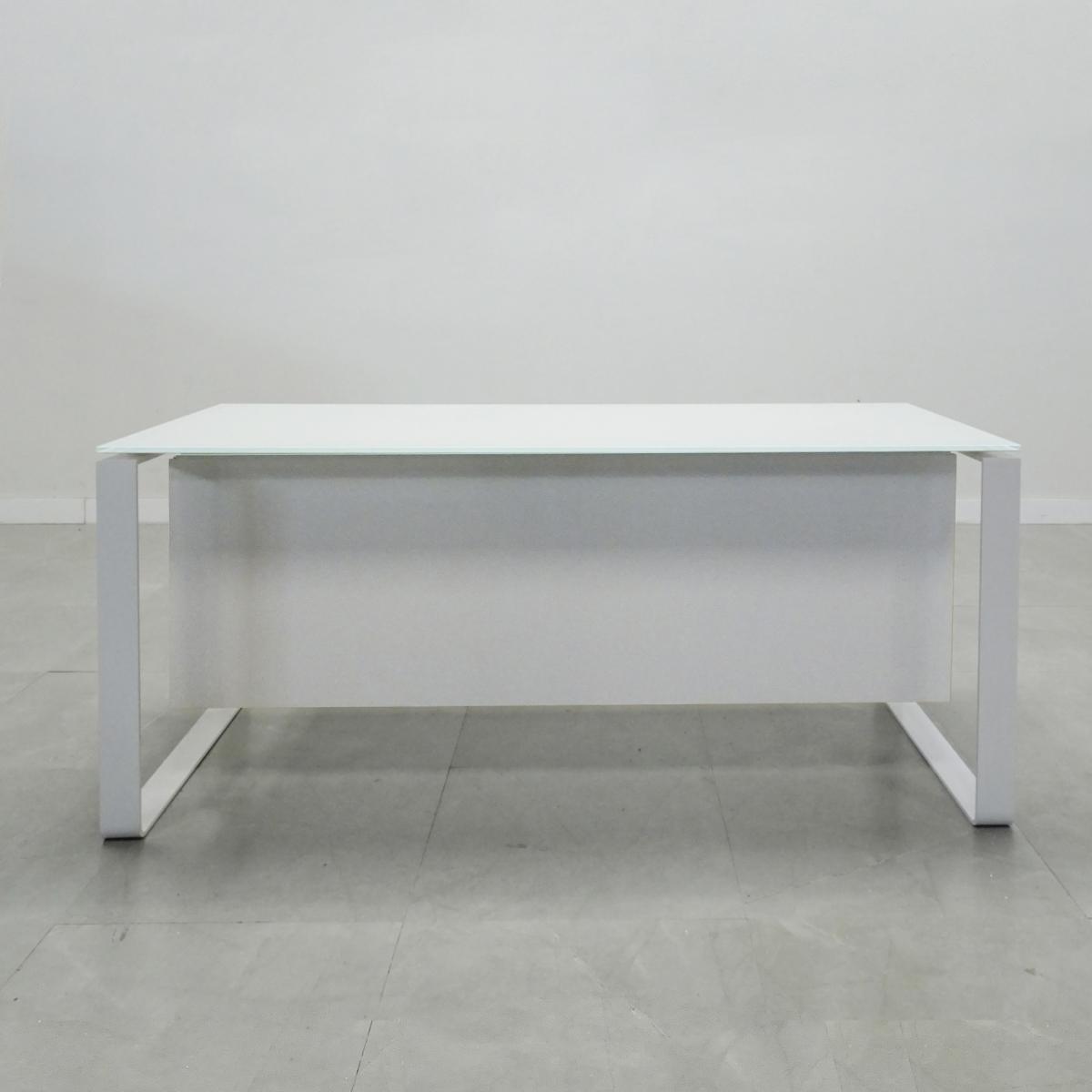 72 In. Aspen white frame white Glass Top Desk