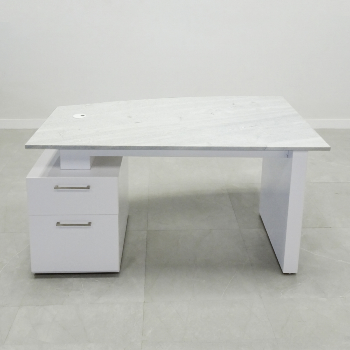 60 In. Aspen white frame with Stone Top Desk